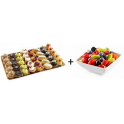 Petit fours (2 per persoon) en fruitsla