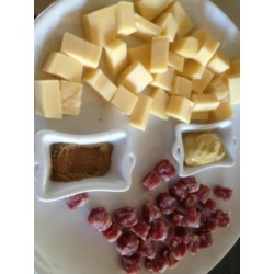 Fromage et salami + moutarde