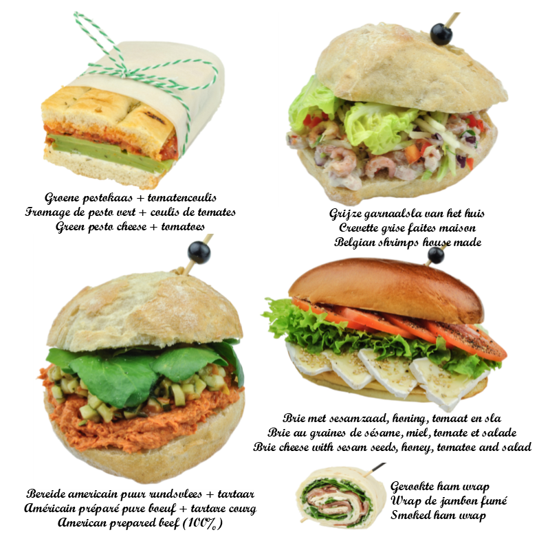 You receive 5 kinds of sandwiches (3 per person) see pictures