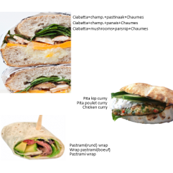 You receive 3 kinds of sandwiches (3 per person) see pictures